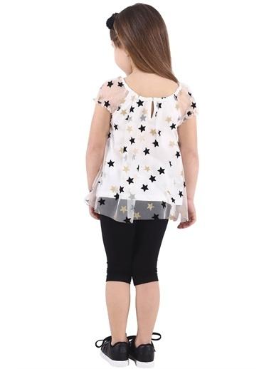 Silversun Kids Kız Çocuk Yıldız Baskılı Tüllü Bluz Bk 217902 Ekru